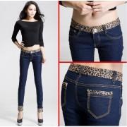 Темные джинсы с леопардовой отделкой
