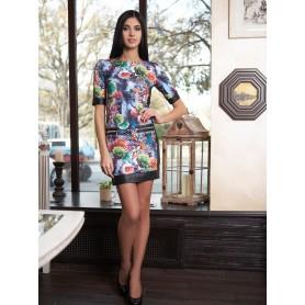 Стёганое платье с кожаными вставками Nessa