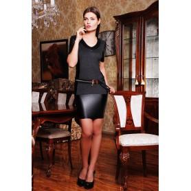 Платье с кожаной юбкой Viviana