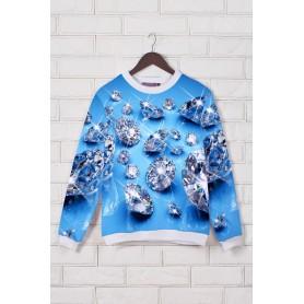 Голубой свитшот с камнями 3d принт